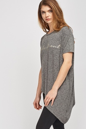 Asymmetric Speckled Long Top