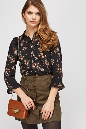 Floral Frilled Sleeve Blouse