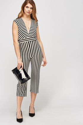 Mono Striped Cropped Jumpsuit
