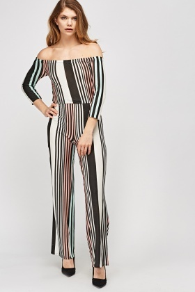 Multi Striped Off Shoulder Jumpsuit