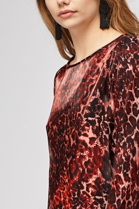 Red Leopard Print Silky Top