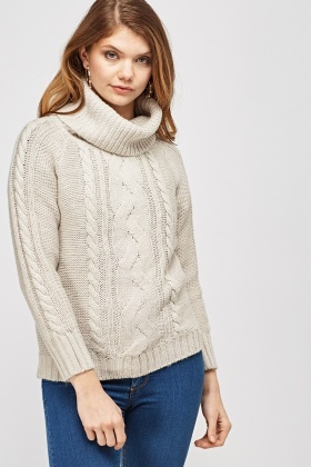 Roll Neck Cable Knit Jumper