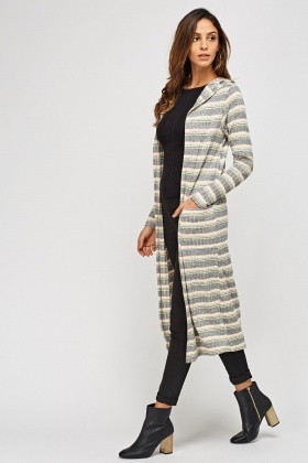 Hooded Striped Metallic Insert Cardigan