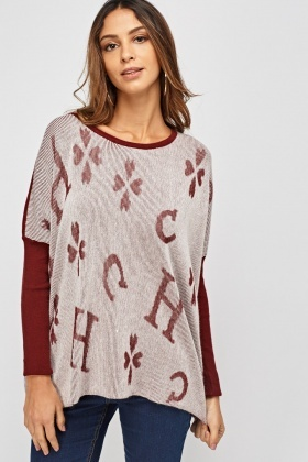Ribbed Front Knitted Jumper