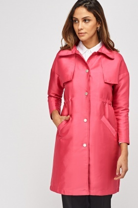 Sateen Button Up Coat