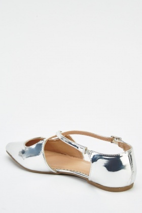 Crossed Strap Metallic Shoes