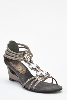 Embellished T-Bar Wedge Sandals