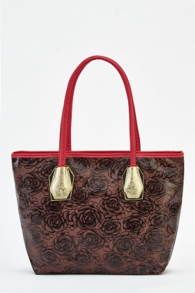 Rose Printed Contrast Trim Bag