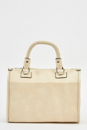 Woven Handle Faux Leather Bag