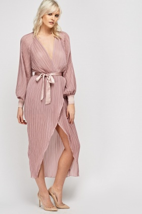 Wrap Pleated Plunge Dress