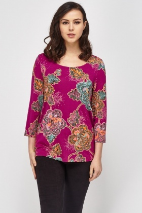 Dot Work Floral Top