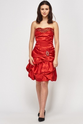 Embellished Ruched Bandeau Sateen Dress