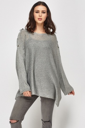Metallic Tie Up Sleeve Knitted Top