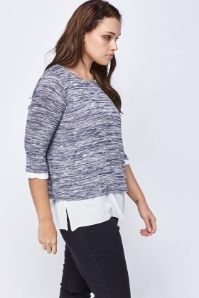 Speckled Contrast Insert Top