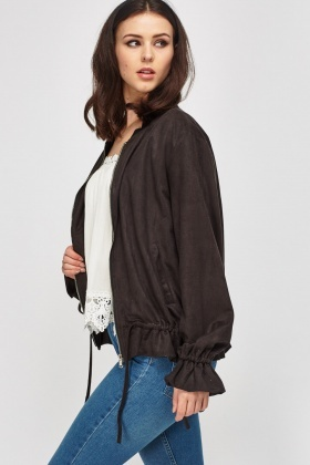 Suedette Ruched Trim Jacket