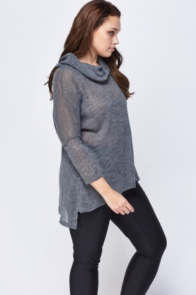 Thin Knit Cowl Neck Sweater