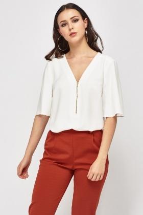 V-Neck Zipped White Blouse