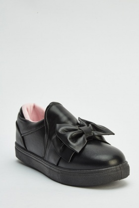 Faux Leather Large Bow Plimsolls