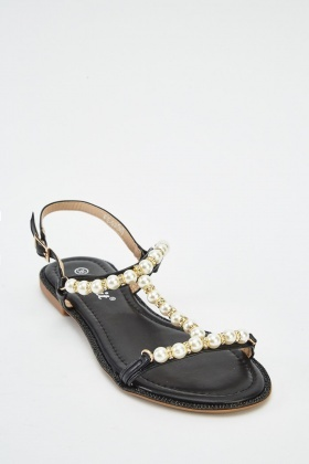 Faux Pearl T-Bar Strap Sandals
