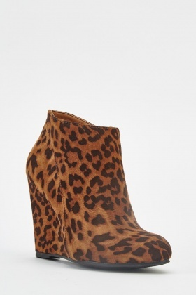 Leopard Print Wedge Ankle Boots - Just $6