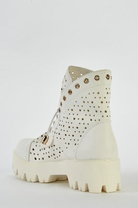 White Laser Cut Boots