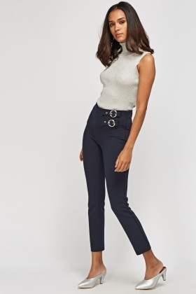Buckled Slim Fit Trousers