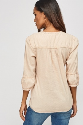 Button Front Stitched Top