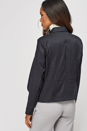 Cropped Pinstripe Waterfall Blazer