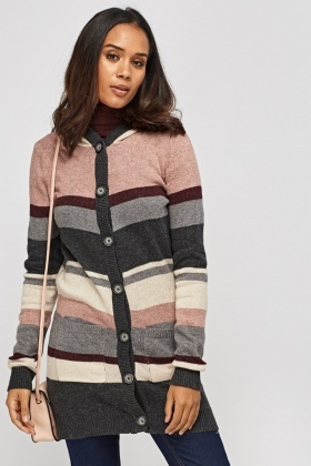 Mauve Striped Knitted Cardigan