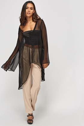 Sheer Dip Hem Cover Up Top