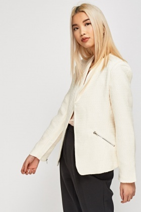 Cream Textured Jacket
