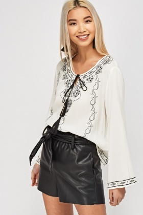 Embroidered Tie Up Front Top