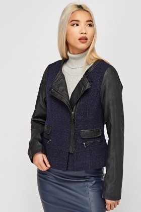 Faux Leather Contrast Tweed Jacket