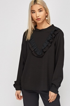 Frilled Front High Neck Blouse