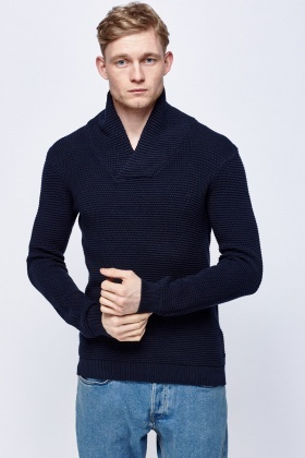 Ribbed Navy Jumper