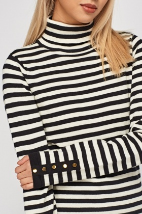 Striped High Neck Jumper