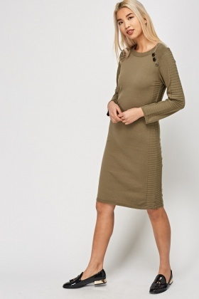 Striped Side Knitted Jumper Dress