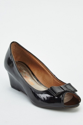 Black Peep Toe Wedge Shoes