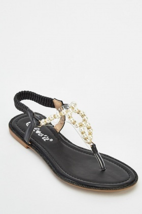 Faux Pearl Flat Sandals