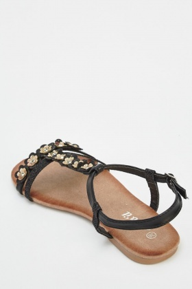 Flower Embellished T-Bar Sandals