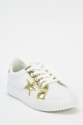 Metallic Star Lace Up Trainers