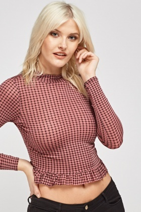 Checked Frilled Hem Crop Top