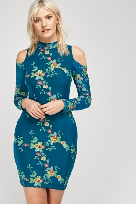 Cut Out Shoulder Printed Dress