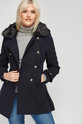 Faux Fur Collar Double Breasted Coat