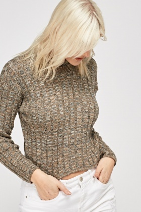 Ribbed Speckled Cropped Jumper