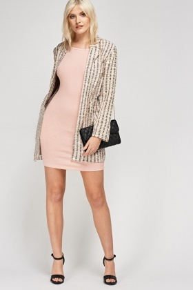 Ruched Sleeve Ribbed Bodycon Dress