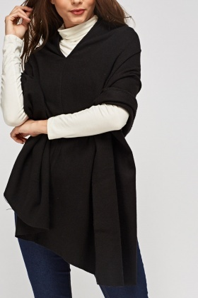 Black Asymmetric Poncho