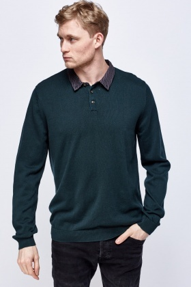 Checked Collar Forest Green Sweater