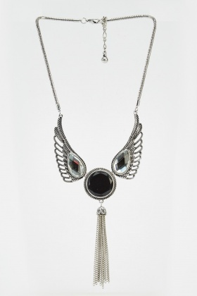 Detailed Chained Drop Necklace