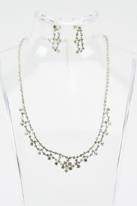 Encrusted Layered Necklace And Earrings Set